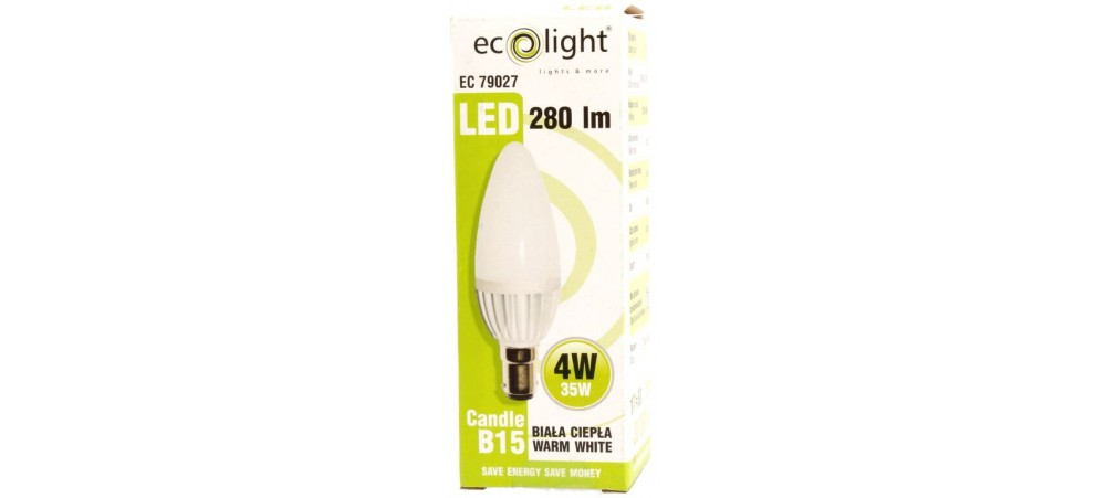 Candle B15 SBC 4W 280 Lumens Warm White Frosted LED Bulb