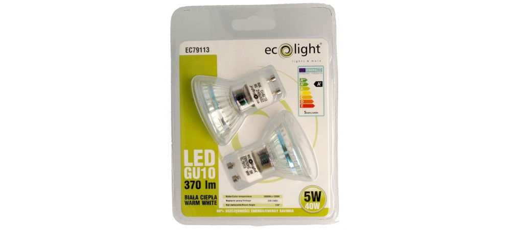 GU10 5W / 40W Warm White 370 Lumens LED Bulbs - Twin Pack