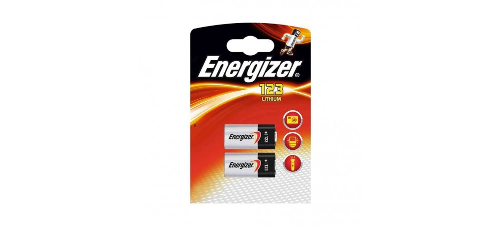 Energizer CR123 3V Photo Lithium Batteries - 2 Pack
