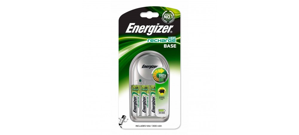 Energizer Base Battery Charger With Four AA 1300mAh Batteries