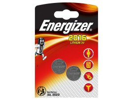Energizer CR2016 3V Lithium Coin Batteries - 2 Pack