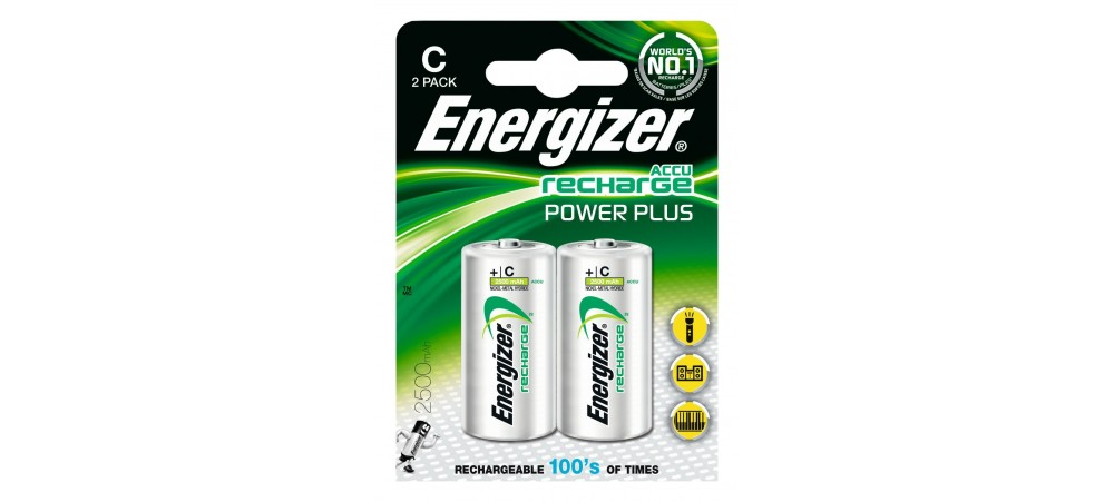 Energizer C Size 2500mAh Power Plus Rechargeable Batteries 2 Pack