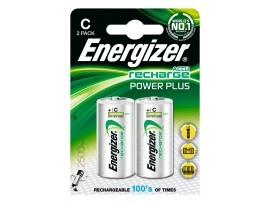 Energizer C Size 2500mAh Power Plus Rechargeable Batteries 2 Pack