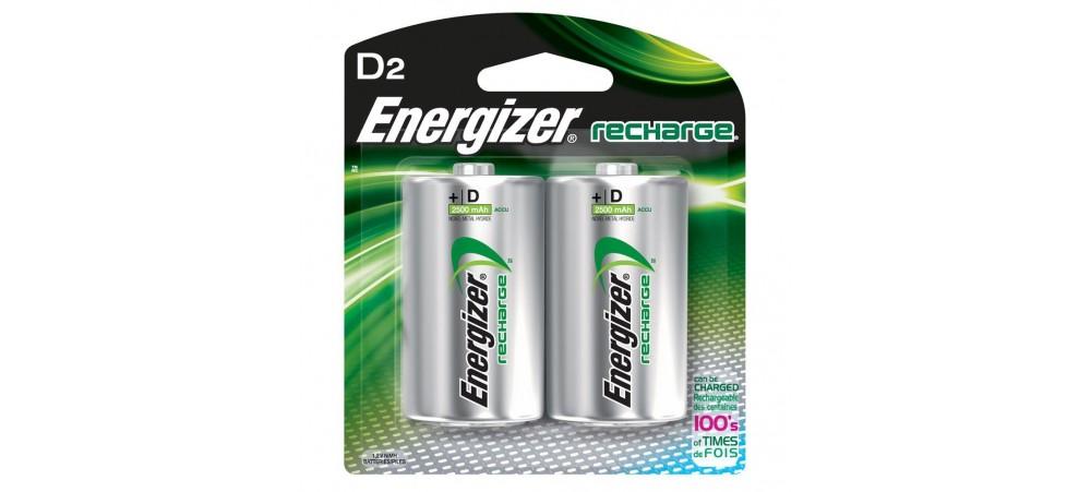 Energizer D Size 2500mAh Power Plus Rechargeable Batteries 2 Pack