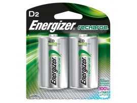 Energizer D Size 2500mAh Power Plus Rechargeable Batteries 2 Pack