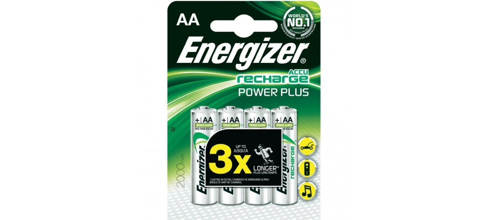 Energizer AA 2000mAh Power Plus Rechargeable Batteries 4 pack