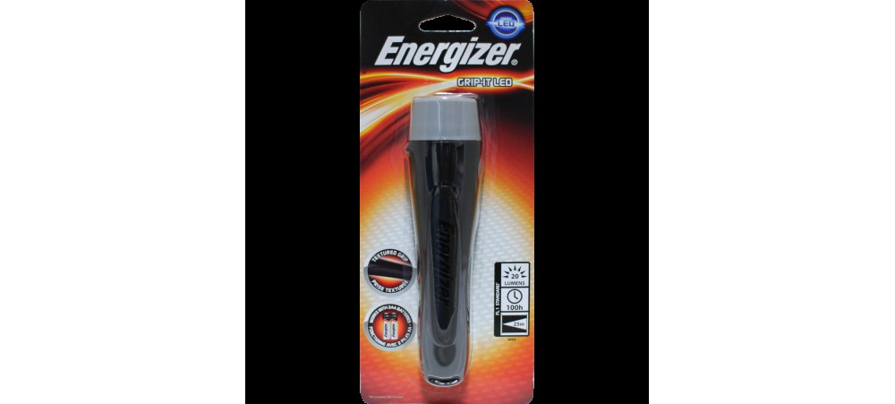 Energizer LED Grip-it Rubber Handheld 2AA Torch - Batteries not included