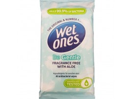 Wet Ones Be Gentle Original Antibacterial Wipes - Pack of 40 Wipes