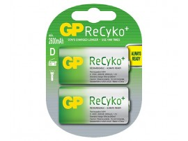 GP D Size 2600mAh ReCyko+ NiMH Rechargeable Batteries - 2 Pack
