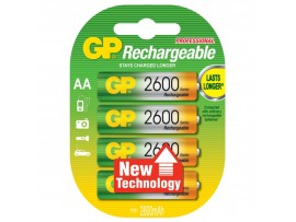 GP AA 2600mAh ReCyko+ Rechargeable NiMH Batteries - 4 Pack
