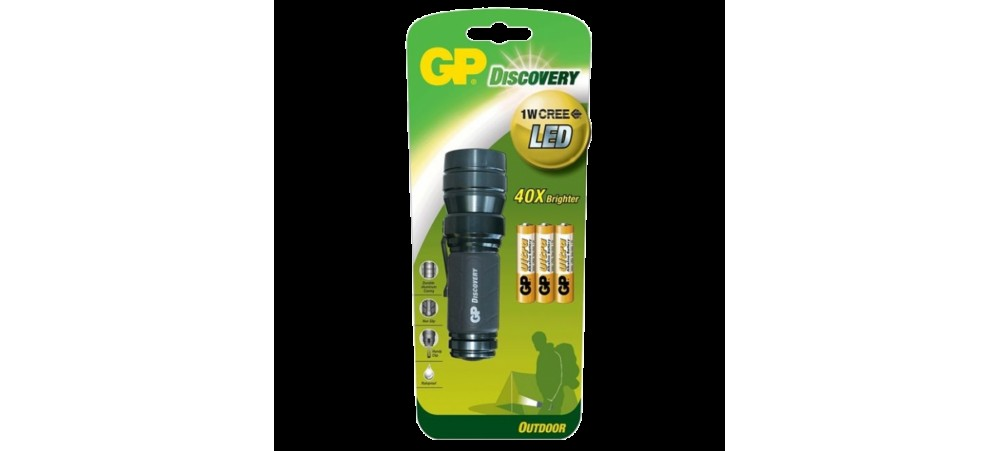 GP Discovery Outdoor LED Torch LOE203 with 3 Ultra Alkaline AAA