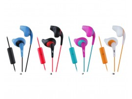 JVC HA-ENR15 In-Ear Gumy Sports Heaphones with Remote and Mic - Black / Blue / Whiite