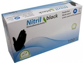 Medi-Inn Nitrile Powder-Free 100 Disposable Black Gloves - Available in Medium and Large