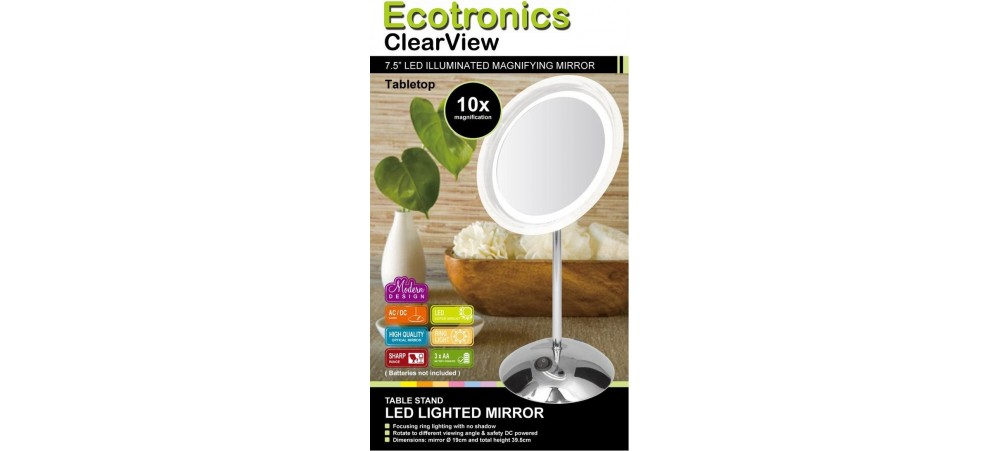 "7.5"" LED Tapletop Mirror - 10x Magnifying - Battery operated"