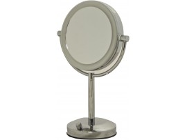 "7.5"" LED Round 2 Sided Taple Mirror - 1x/5x Magnifying - Dimmable - Battery operated"