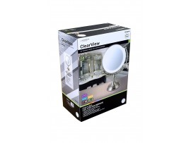 "9.5"" Double Sided LED Illuminated 1X/5X Magnifying  Mirror - Dimmable - Battery Operated"