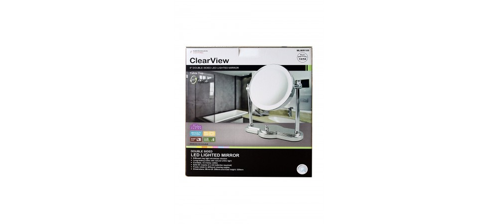 """8"""" Double Sided LED Illuminated 1X/5X Magnifying  Mirror - Dimmable - Battery Operated"""
