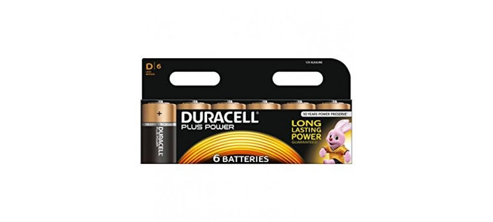 Duracell Plus Power D Size Batteries - 6 Pack