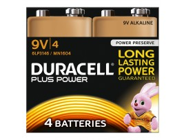 Duracell Plus Power 9V Batteries - 4 Pack