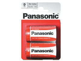 Panasonic D / R20 Zinc Carbon Batteries - 2 Pack