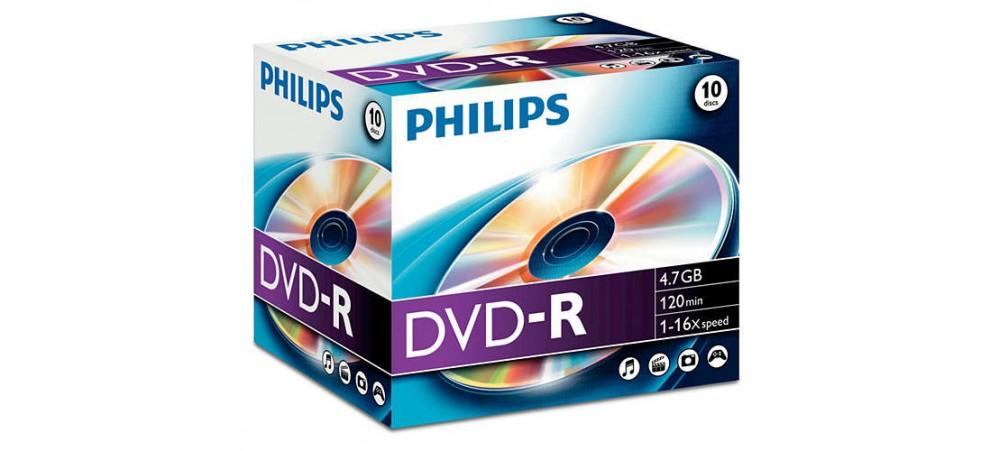 Philips DVD-R 16X 4.7GB - 10 Pack Jewel Case