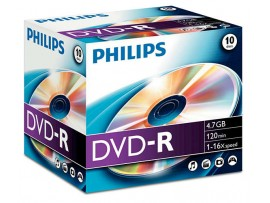 Philips DVD-R 16X 4.7GB - 10 Pack Jewel Case