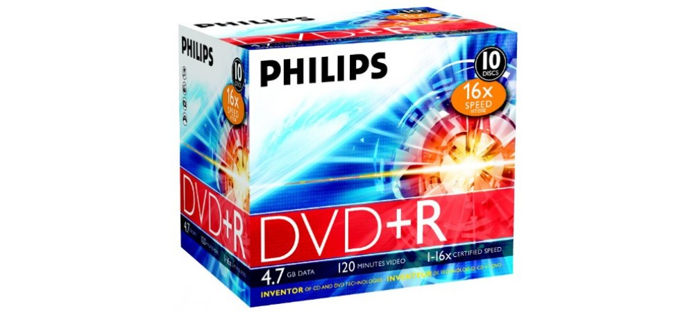 Philips DVD+R 16X 4.7GB - 10 Pack Jewel Case