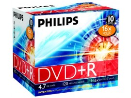 Philips DVD+R 16X 4.7GB - 10 Pack Jewel Case