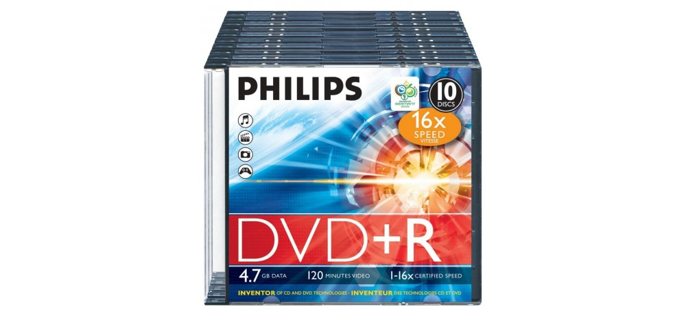Philips DVD+R 16X 4.7GB - 10 Pack Slim Jewel Case