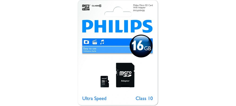 16GB Micro SDHC Class 10 Memory Card with Adapter - Philips