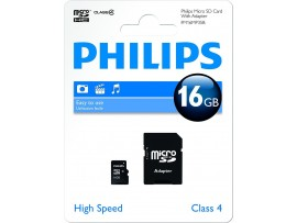 16GB Micro SDHC Class 4 Memory Card with Adapter - Philips