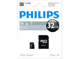 32GB Micro SDHC Class 10 Memory Card with Adapter - Philips