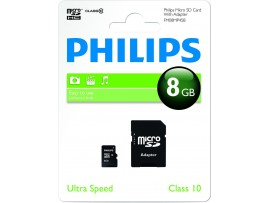 8GB Micro SDHC Class 10 Memory Card with Adapter - Philips