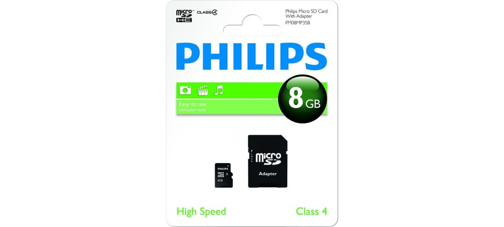 8GB Micro SDHC Class 4 Memory Card with Adapter - Philips