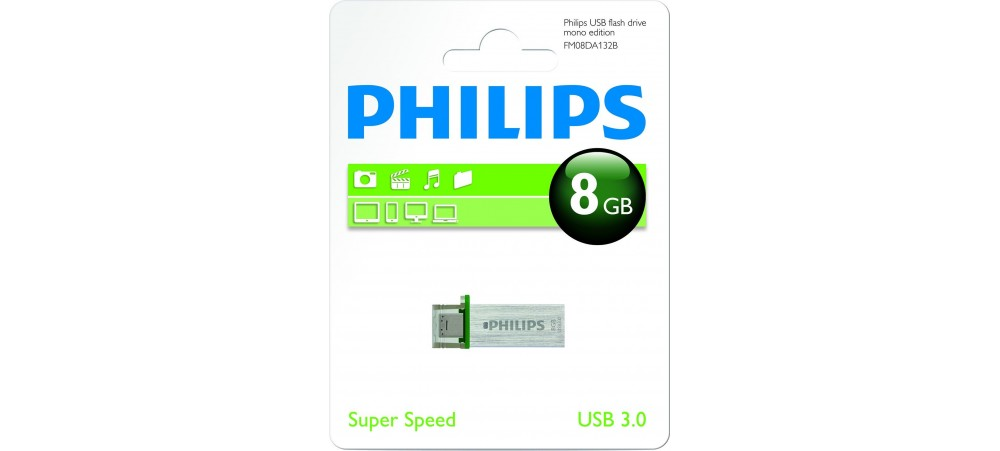 Philips USB 3.0 Mono Edition with Micro USB 2.0 connector - 8GB / 16GB / 32GB / 64GB