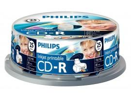 Philips CD-R Inkjet Printable 80min 700MB 52 speed  - 25 Pack Spindle