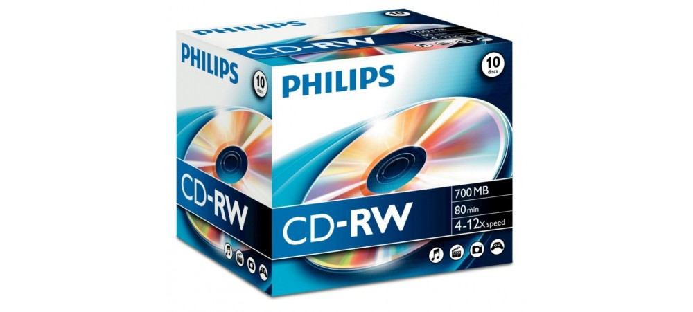 Philips CD-RW 80min 700MB 4-12 Speed - 10 Pack Jewel Case