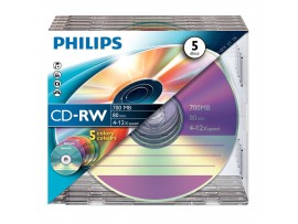 Philips CD-RW 80 Min 700 MB 4 - 12 Speed - 5 Pack Colour Slim Jewel Case