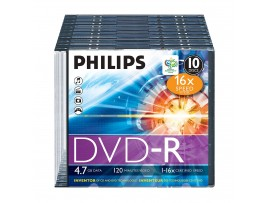 Philips DVD-R 16X 4.7GB - 10 Pack Slim Jewel Case