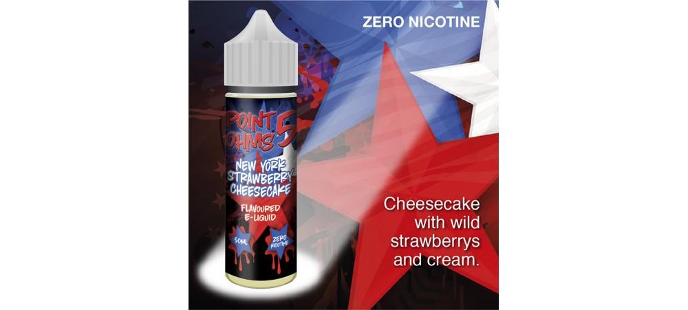 New York Strawberry Cheesecake Flavour MAX VG E-Liquid - Zero Nicotine - 50ML - Point Five Ohms - Short Fill