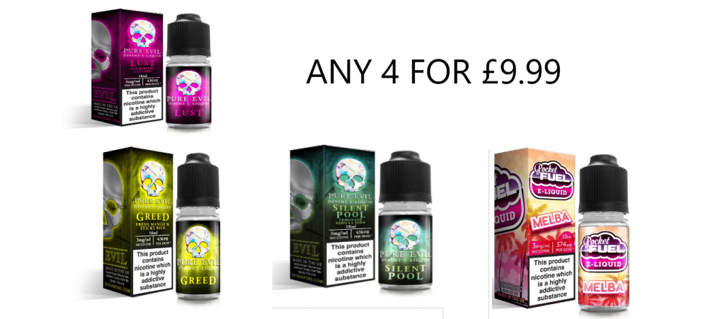 Any 4 SUB OHM MAX VG E-Liquid 10ml Bottles - ANY STRENGTH - MIX AND MATCH