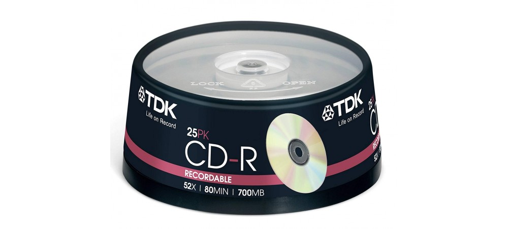 TDK CD-R 80MIN 700MB 52X Speed CD Recordable - 25 Pack Spindle
