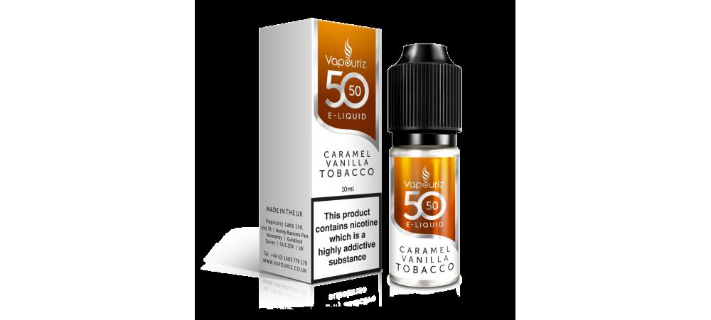 Caramel Vanilla Tobacco 50/50 Universal E-Liquid 10ml - Vapouriz - 50VG 50PG - 3mg / 6mg / 12mg / 18mg