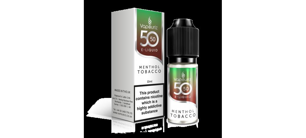 Menthol Tobacco 50/50 Universal E-Liquid 10ml - Vapouriz - 50VG 50PG - 3mg / 6mg / 12mg / 18mg