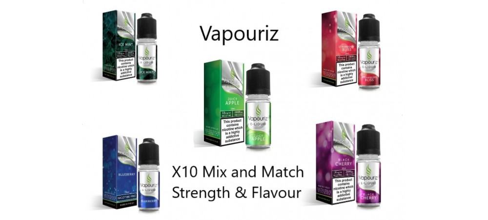 Any 10 E-Liquid - mix & match strength & flavour - Vapouriz