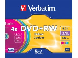 Verbatim 43297 DVD+RW 4x Colour Non Print Surface - 5 Pack Slim Case - Multipack deal available