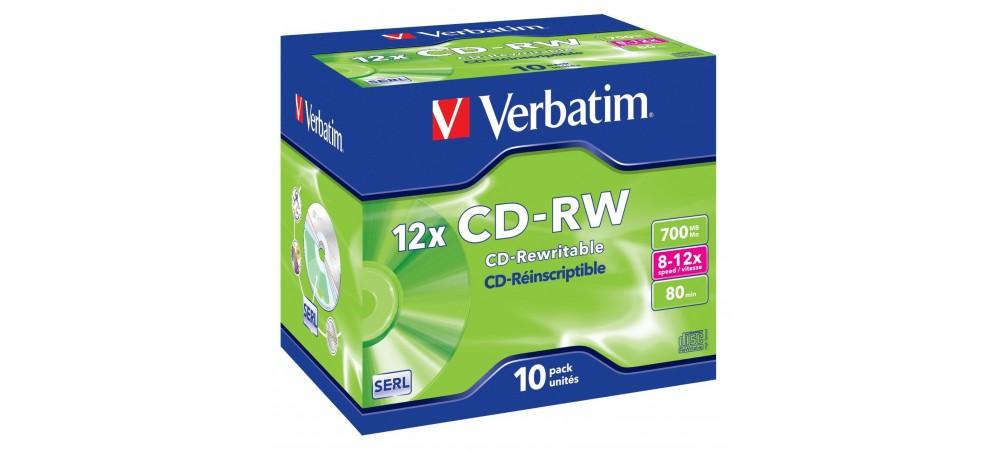 Verbatim 43148 CD-RW 700MB 12x  - 10 Pack Jewel Case - Multipack deal available