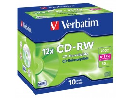 Verbatim 43148 CD-RW 700MB 12x  - 10 Pack Jewel Case