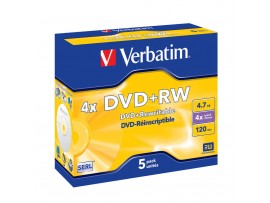 Verbatim 43229 DVD+RW 4x 4.7GB - 5 Pack Jewel Case