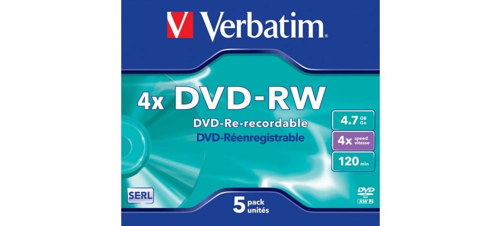Verbatim 43285 DVD-RW 4x 4.7GB - 5 Pack Jewel Case
